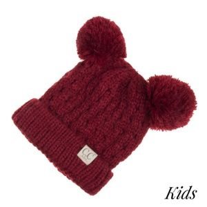 Double Pompom C.C Beanie for Kids. Deep Red